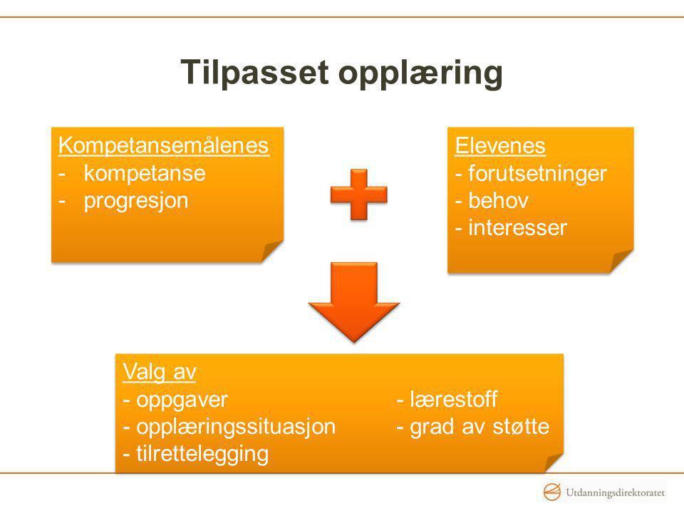 Tilpasset opplæring Kompetansemålenes -kompetanse -progresjon Kompetansemålenes -kompetanse -progresjon Elevenes - forutsetninger - behov - interesser