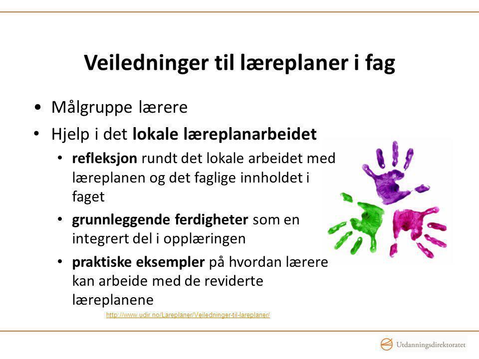 Veiledninger til læreplaner i fag Målgruppe lærere Hjelp i det lokale læreplanarbeidet refleksjon rundt det lokale arbeidet med læreplanen og det fagl