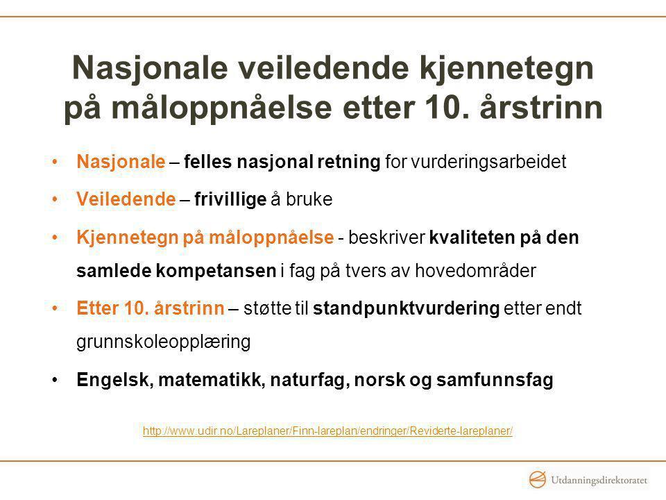Nasjonale veiledende kjennetegn på måloppnåelse etter 10. årstrinn Nasjonale – felles nasjonal retning for vurderingsarbeidet Veiledende – frivillige