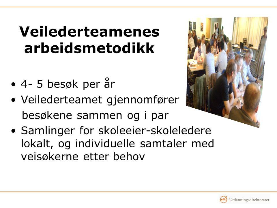 Veilederteamenes arbeidsmetodikk 4- 5 besøk per år Veilederteamet gjennomfører besøkene sammen og i par Samlinger for skoleeier-skoleledere lokalt, og individuelle samtaler med veisøkerne etter behov