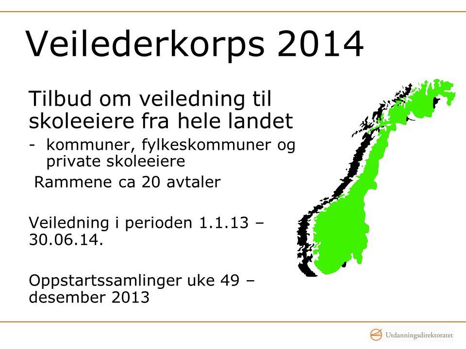 Veilederkorps 2014 Tilbud om veiledning til skoleeiere fra hele landet -kommuner, fylkeskommuner og private skoleeiere Rammene ca 20 avtaler Veiledning i perioden 1.1.13 – 30.06.14.