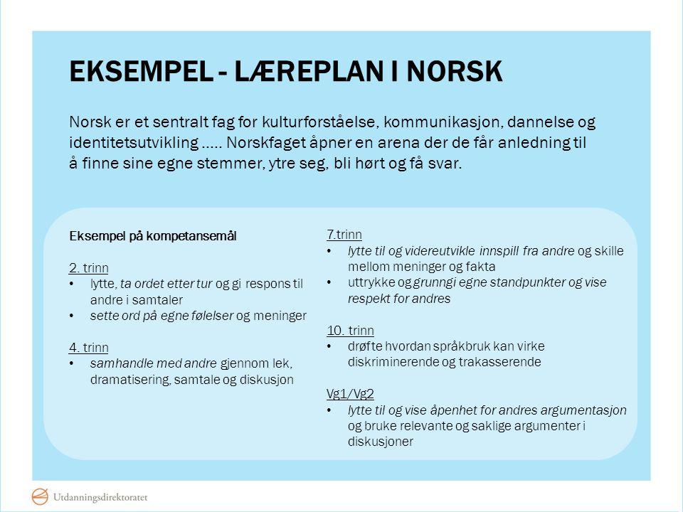 EKSEMPEL - LÆREPLAN I NORSK Norsk er et sentralt fag for kulturforståelse, kommunikasjon, dannelse og identitetsutvikling..… Norskfaget åpner en arena