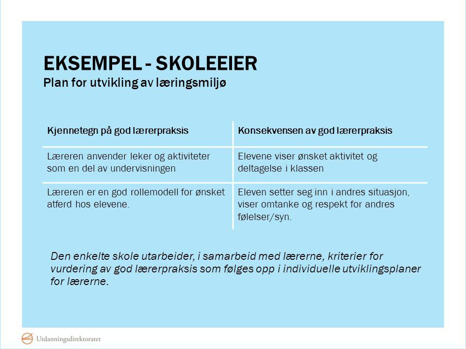 EKSEMPEL - SKOLEEIER Den enkelte skole utarbeider, i samarbeid med lærerne, kriterier for vurdering av god lærerpraksis som følges opp i individuelle