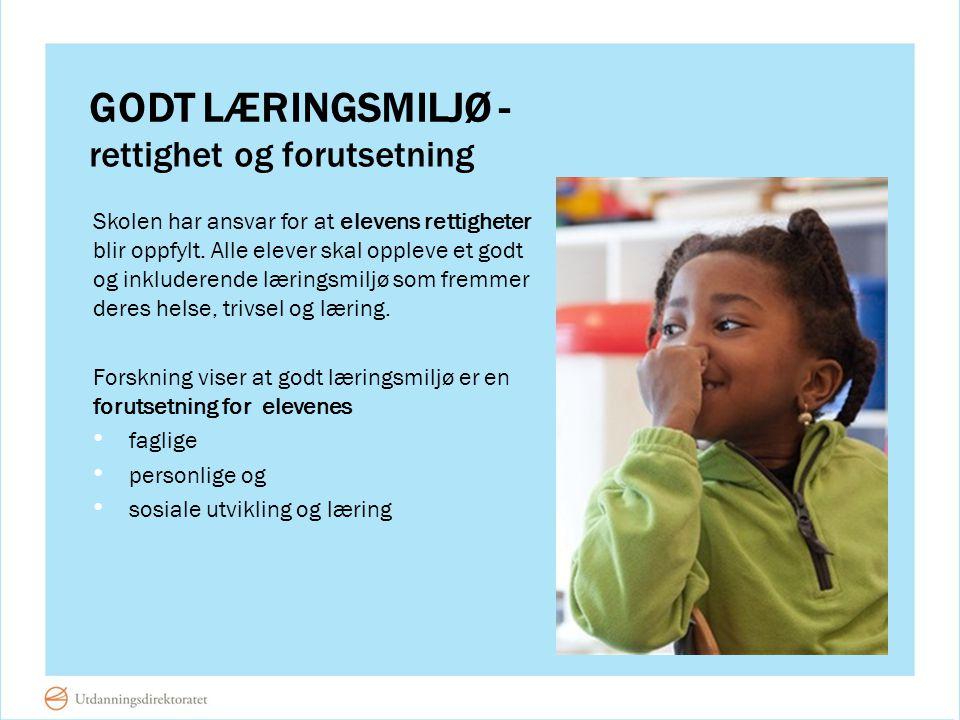 GODT LÆRINGSMILJØ - Skolen har ansvar for at elevens rettigheter blir oppfylt. Alle elever skal oppleve et godt og inkluderende læringsmiljø som fremm