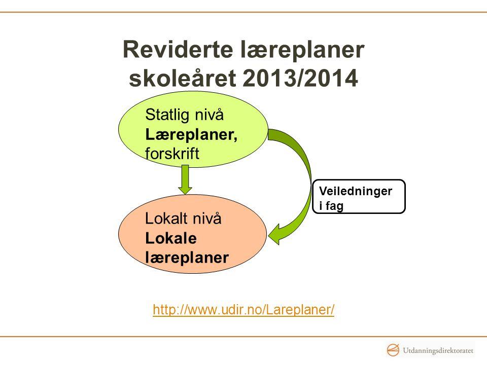 Reviderte læreplaner skoleåret 2013/2014 http://www.udir.no/Lareplaner/ Statlig nivå Læreplaner, forskrift Lokalt nivå Lokale læreplaner Veiledninger