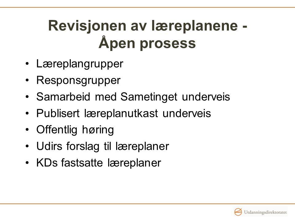 Revisjonen av læreplanene - Åpen prosess Læreplangrupper Responsgrupper Samarbeid med Sametinget underveis Publisert læreplanutkast underveis Offentli