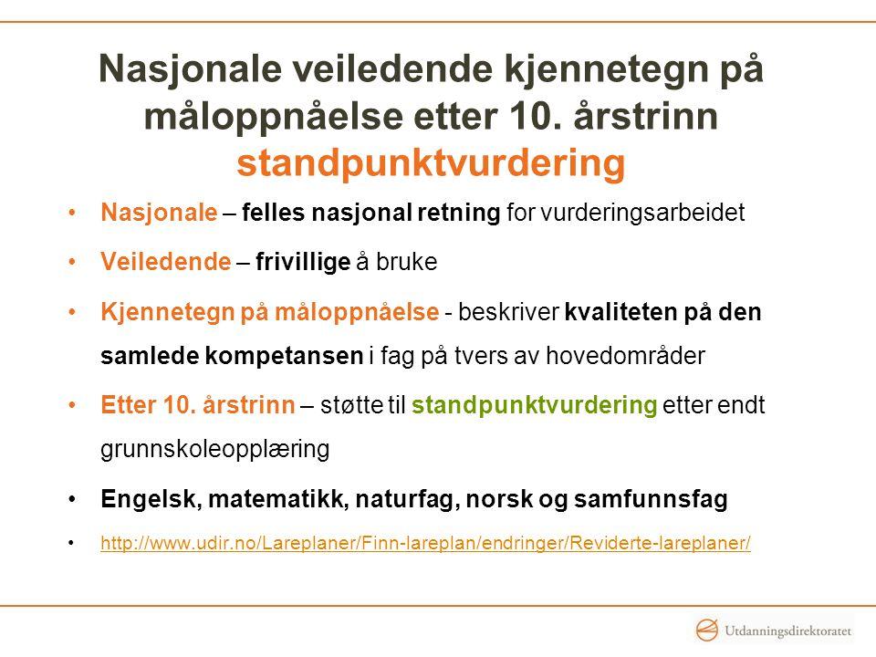 Nasjonale veiledende kjennetegn på måloppnåelse etter 10. årstrinn standpunktvurdering Nasjonale – felles nasjonal retning for vurderingsarbeidet Veil