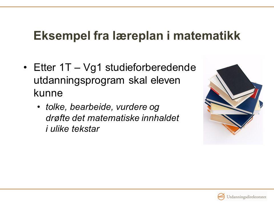 Eksempel fra læreplan i matematikk Etter 1T – Vg1 studieforberedende utdanningsprogram skal eleven kunne tolke, bearbeide, vurdere og drøfte det matem