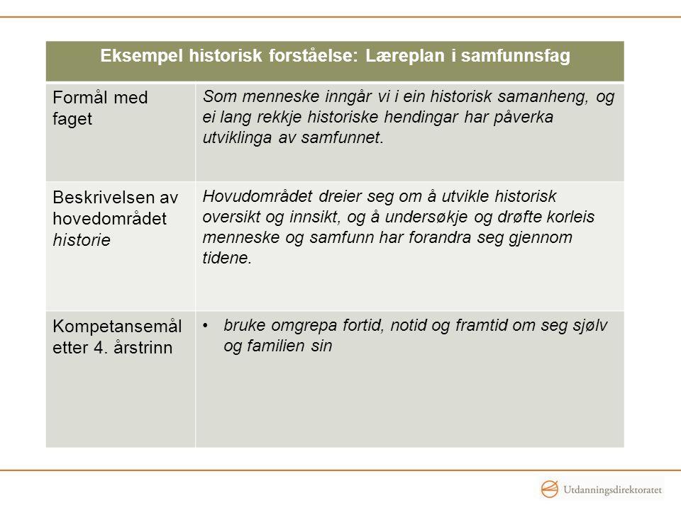 Eksempel historisk forståelse: Læreplan i samfunnsfag Formål med faget Som menneske inngår vi i ein historisk samanheng, og ei lang rekkje historiske