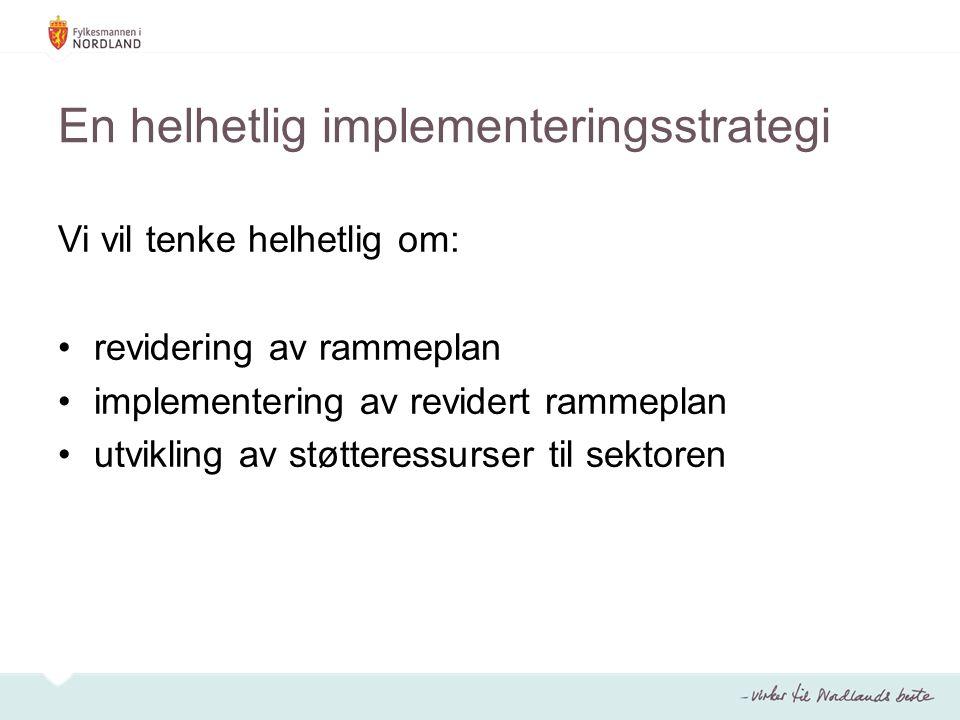 En helhetlig implementeringsstrategi Vi vil tenke helhetlig om: revidering av rammeplan implementering av revidert rammeplan utvikling av støtteressur