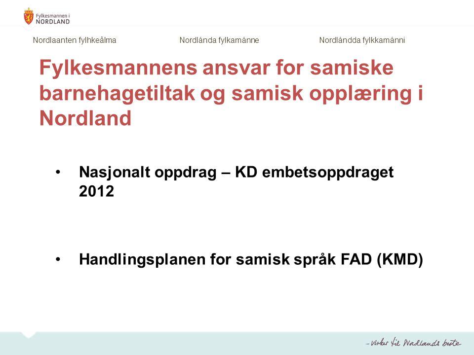 Fylkesmannens ansvar for samiske barnehagetiltak og samisk opplæring i Nordland Nasjonalt oppdrag – KD embetsoppdraget 2012 Handlingsplanen for samisk språk FAD (KMD) Nordlaanten fylhkeålma Nordlánda fylkamánne Nordlándda fylkkamánni