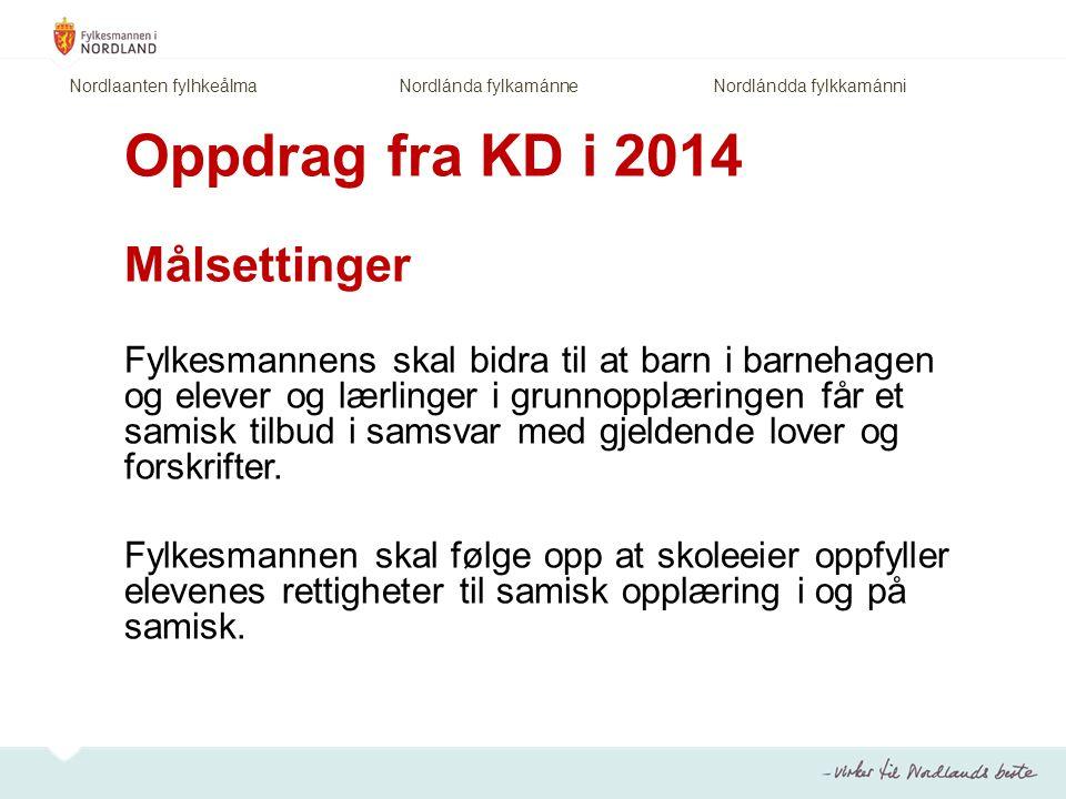 Oppdrag fra KD i 2014 Målsettinger Fylkesmannens skal bidra til at barn i barnehagen og elever og lærlinger i grunnopplæringen får et samisk tilbud i