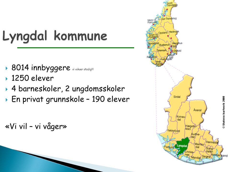 Lyngdal kommune  8014 innbyggere vi vokser stadig!!!  1250 elever  4 barneskoler, 2 ungdomsskoler  En privat grunnskole – 190 elever «Vi vil – vi
