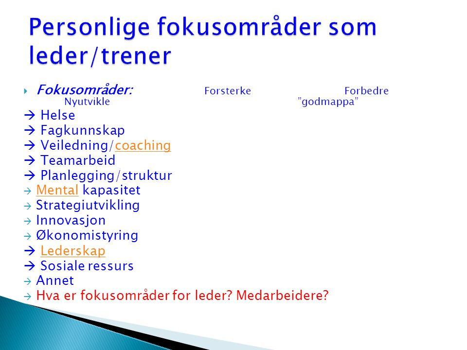 """ Fokusområder: ForsterkeForbedre Nyutvikle""""godmappa""""  Helse  Fagkunnskap  Veiledning/coachingcoaching  Teamarbeid  Planlegging/struktur  Mental"""