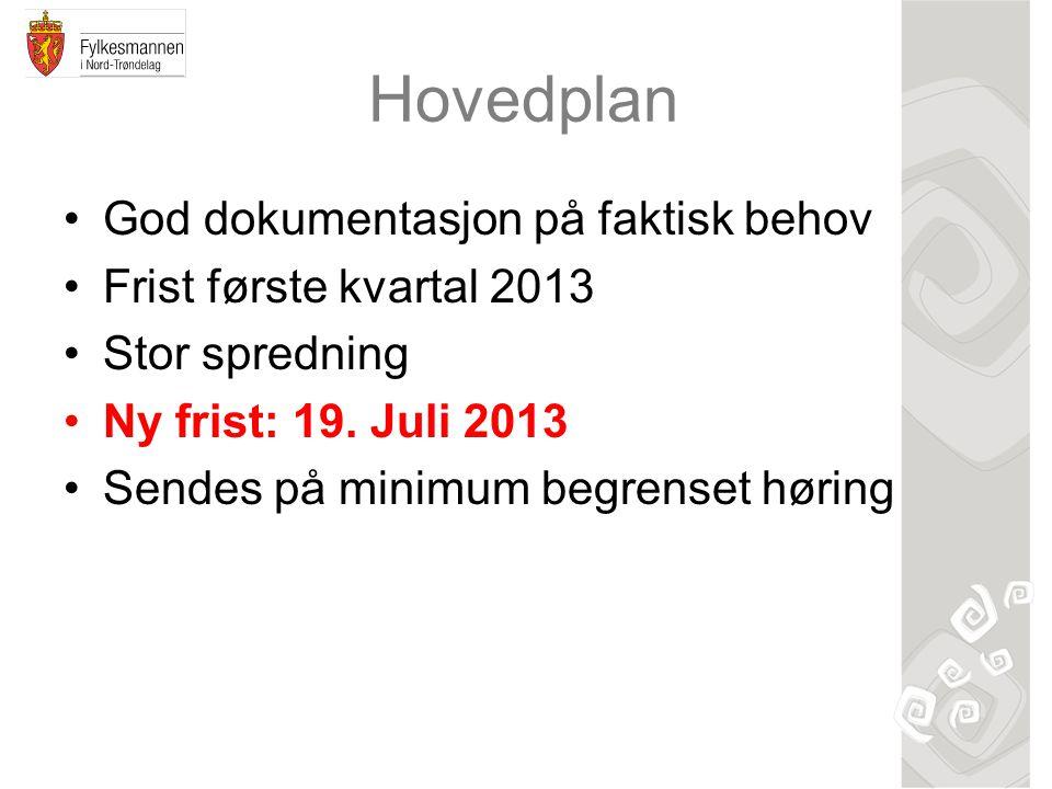 Hovedplan God dokumentasjon på faktisk behov Frist første kvartal 2013 Stor spredning Ny frist: 19.