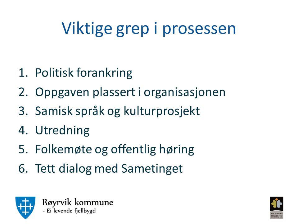Viktige grep i prosessen 1.Politisk forankring 2.Oppgaven plassert i organisasjonen 3.Samisk språk og kulturprosjekt 4.Utredning 5.Folkemøte og offent