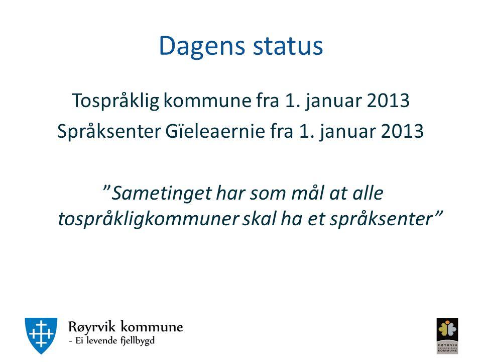 """Dagens status Tospråklig kommune fra 1. januar 2013 Språksenter Gïeleaernie fra 1. januar 2013 """"Sametinget har som mål at alle tospråkligkommuner skal"""