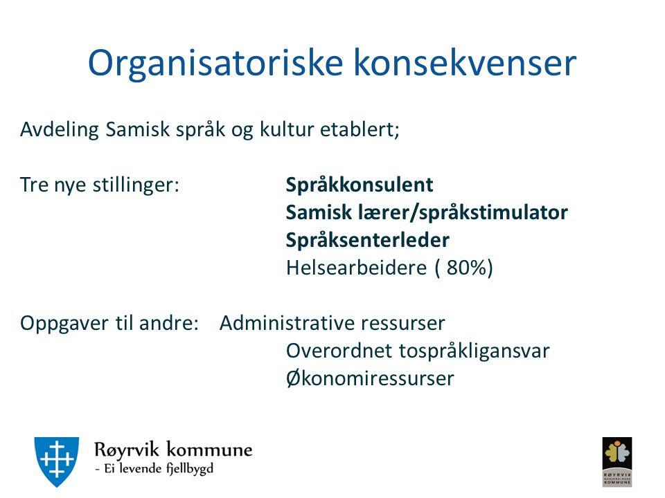 Organisatoriske konsekvenser Avdeling Samisk språk og kultur etablert; Tre nye stillinger:Språkkonsulent Samisk lærer/språkstimulator Språksenterleder