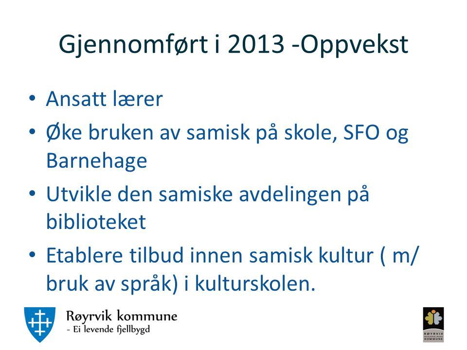 Gjennomført i 2013 -Oppvekst Ansatt lærer Øke bruken av samisk på skole, SFO og Barnehage Utvikle den samiske avdelingen på biblioteket Etablere tilbu