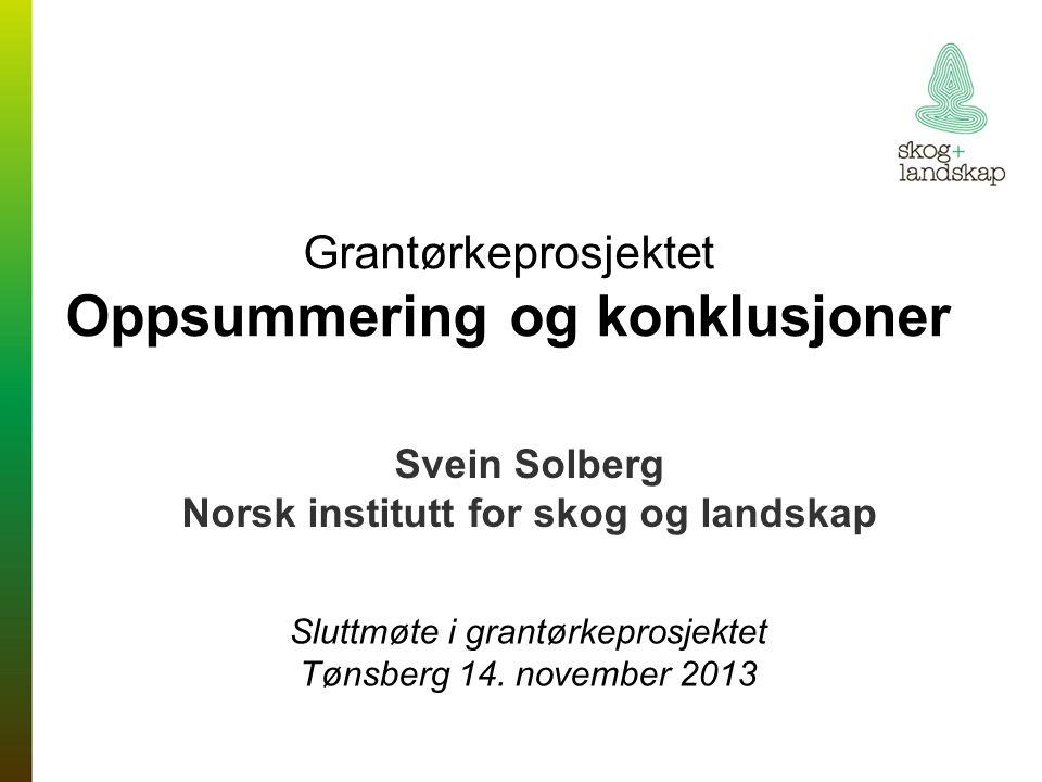 Grantørkeprosjektet Oppsummering og konklusjoner Svein Solberg Norsk institutt for skog og landskap Sluttmøte i grantørkeprosjektet Tønsberg 14.
