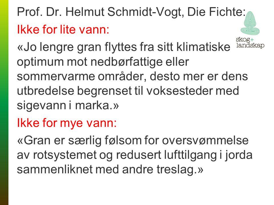 Prof. Dr. Helmut Schmidt-Vogt, Die Fichte: Ikke for lite vann: «Jo lengre gran flyttes fra sitt klimatiske optimum mot nedbørfattige eller sommervarme