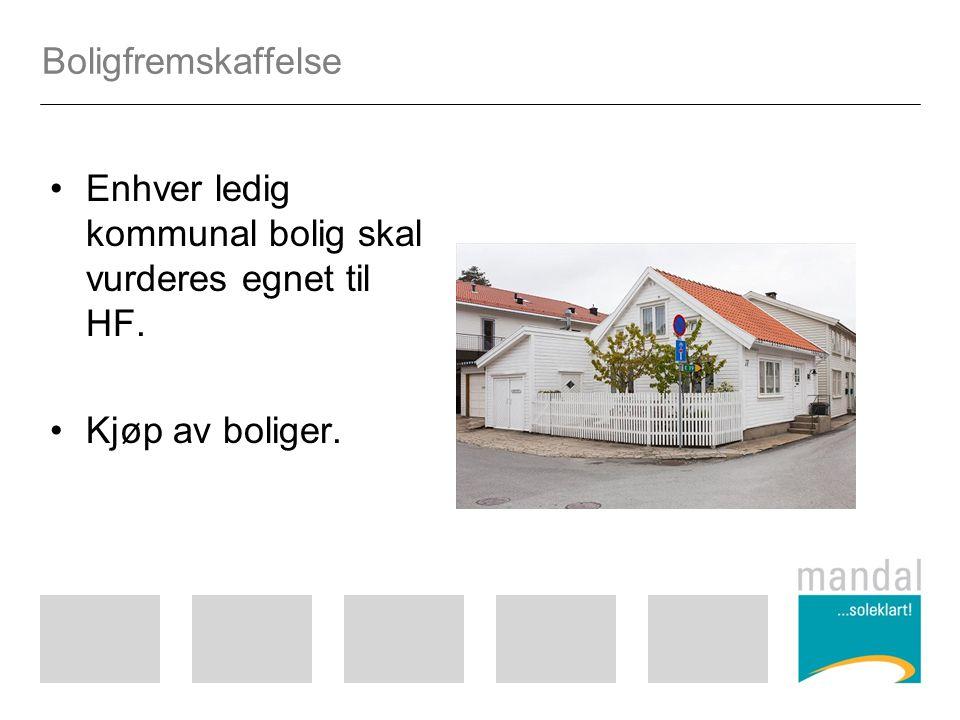 Boligfremskaffelse Enhver ledig kommunal bolig skal vurderes egnet til HF. Kjøp av boliger.