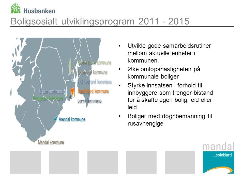 Boligsosialt utviklingsprogram 2011 - 2015 Utvikle gode samarbeidsrutiner mellom aktuelle enheter i kommunen. Øke omløpshastigheten på kommunale bolig