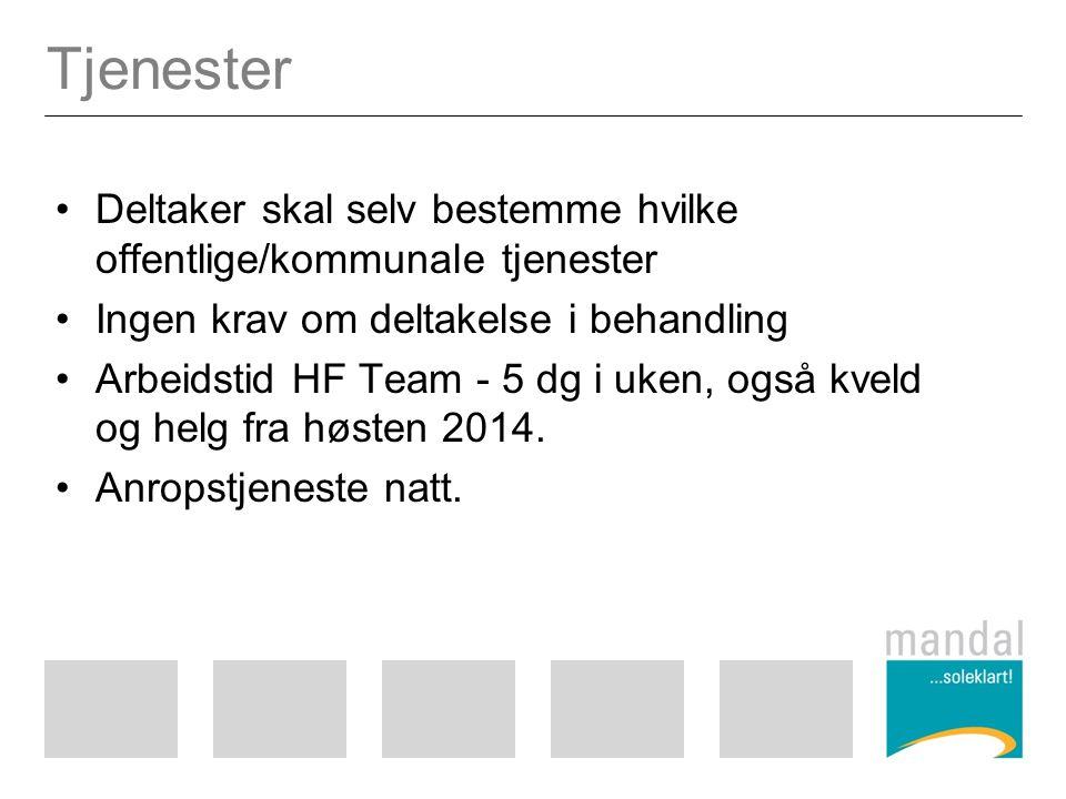 Tjenester Deltaker skal selv bestemme hvilke offentlige/kommunale tjenester Ingen krav om deltakelse i behandling Arbeidstid HF Team - 5 dg i uken, også kveld og helg fra høsten 2014.