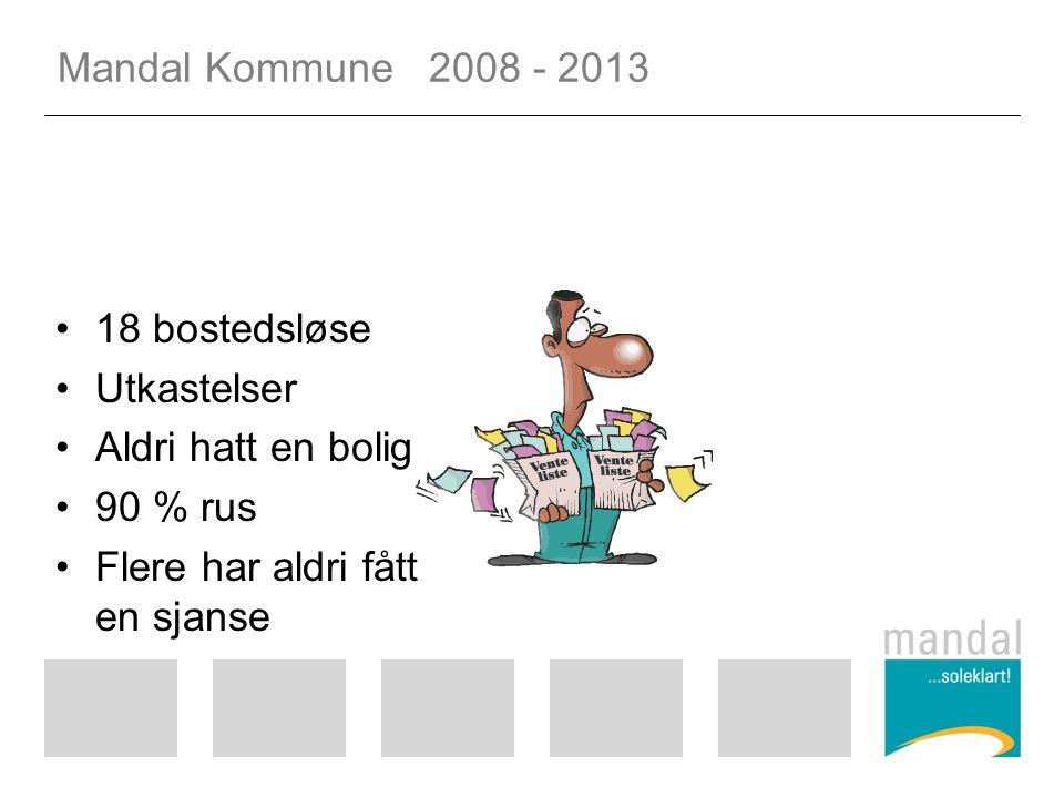 Mandal Kommune 2008 - 2013 18 bostedsløse Utkastelser Aldri hatt en bolig 90 % rus Flere har aldri fått en sjanse