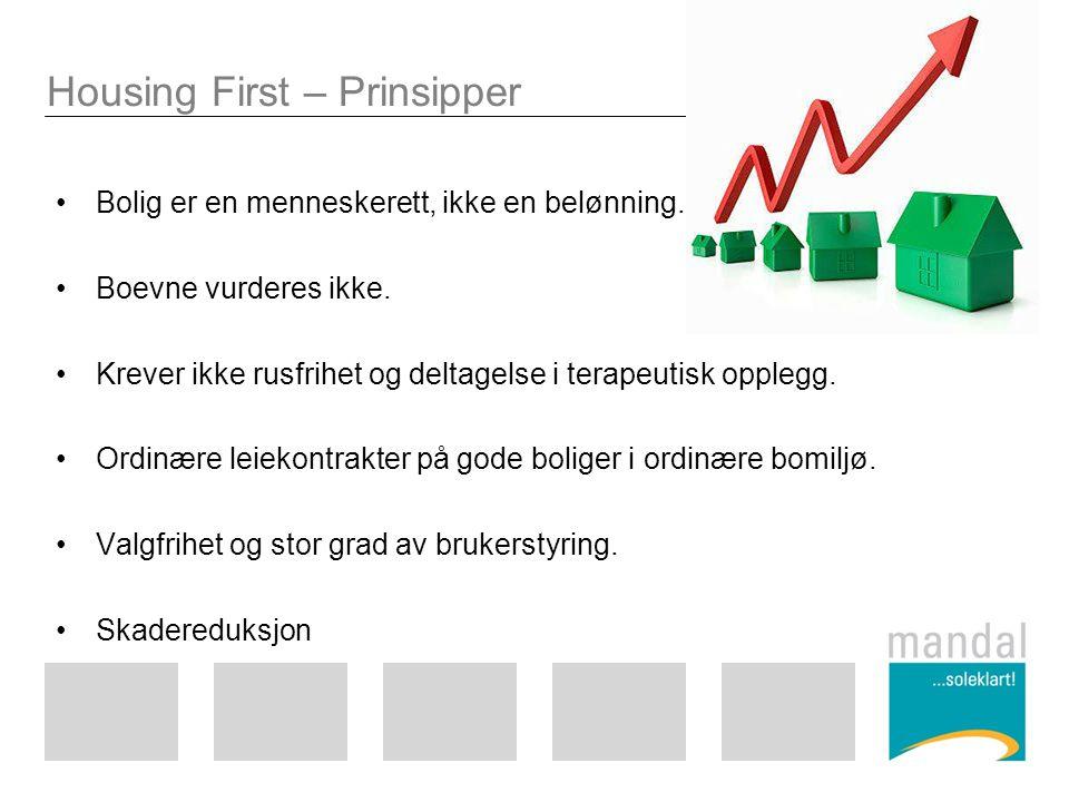 Housing First – Prinsipper Bolig er en menneskerett, ikke en belønning. Boevne vurderes ikke. Krever ikke rusfrihet og deltagelse i terapeutisk oppleg