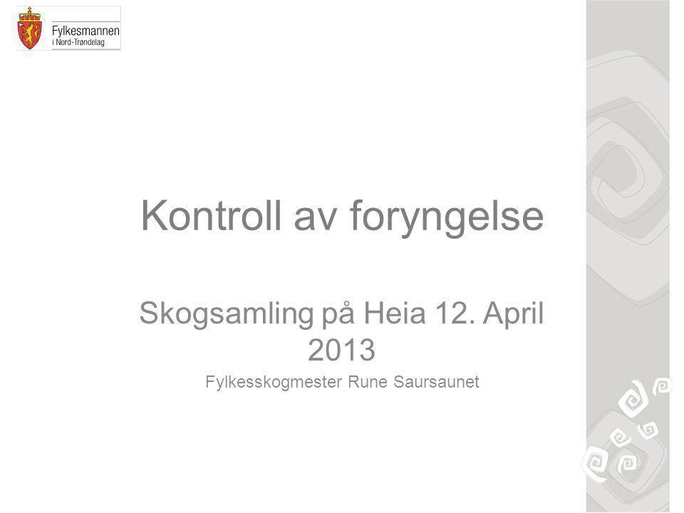 Kontroll av foryngelse Skogsamling på Heia 12. April 2013 Fylkesskogmester Rune Saursaunet