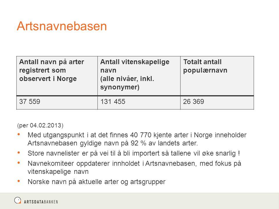 Artsnavnebasen (per 04.02.2013) Med utgangspunkt i at det finnes 40 770 kjente arter i Norge inneholder Artsnavnebasen gyldige navn på 92 % av landets arter.