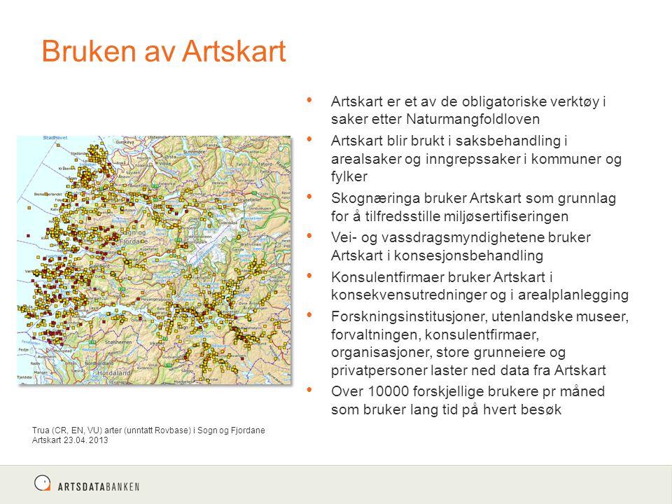 Bruken av Artskart Artskart er et av de obligatoriske verktøy i saker etter Naturmangfoldloven Artskart blir brukt i saksbehandling i arealsaker og in