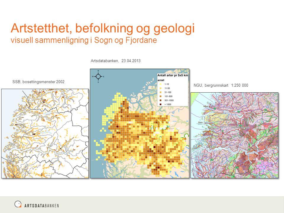 Artstetthet, befolkning og geologi visuell sammenligning i Sogn og Fjordane Artsdatabanken, 23.04.2013 NGU, bergrunnskart 1:250 000 SSB, bosettingsmøn