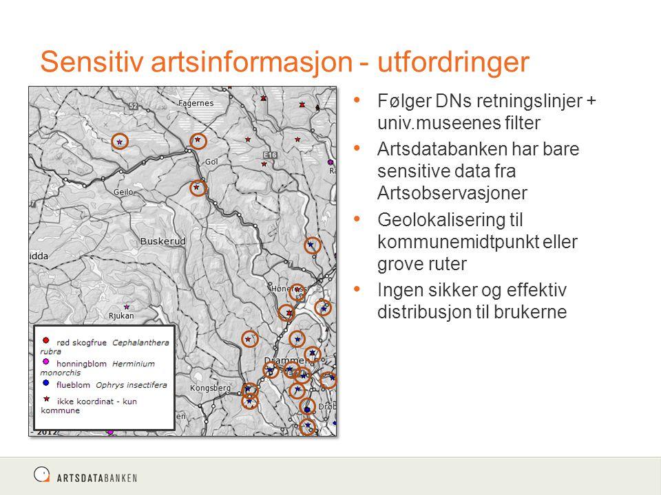 Sensitiv artsinformasjon - utfordringer Følger DNs retningslinjer + univ.museenes filter Artsdatabanken har bare sensitive data fra Artsobservasjoner Geolokalisering til kommunemidtpunkt eller grove ruter Ingen sikker og effektiv distribusjon til brukerne