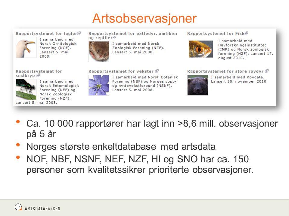 Artsobservasjoner Ca. 10 000 rapportører har lagt inn >8,6 mill. observasjoner på 5 år Norges største enkeltdatabase med artsdata NOF, NBF, NSNF, NEF,