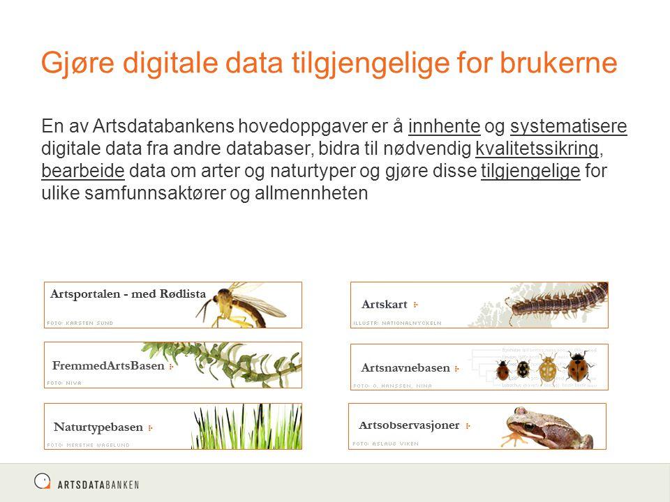 Gjøre digitale data tilgjengelige for brukerne En av Artsdatabankens hovedoppgaver er å innhente og systematisere digitale data fra andre databaser, bidra til nødvendig kvalitetssikring, bearbeide data om arter og naturtyper og gjøre disse tilgjengelige for ulike samfunnsaktører og allmennheten