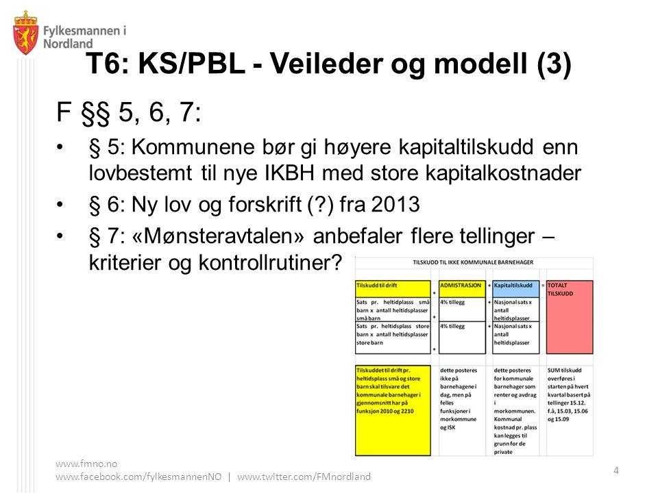 T6: KS/PBL - Veileder og modell (3) F §§ 5, 6, 7: § 5: Kommunene bør gi høyere kapitaltilskudd enn lovbestemt til nye IKBH med store kapitalkostnader § 6: Ny lov og forskrift ( ) fra 2013 § 7: «Mønsteravtalen» anbefaler flere tellinger – kriterier og kontrollrutiner.