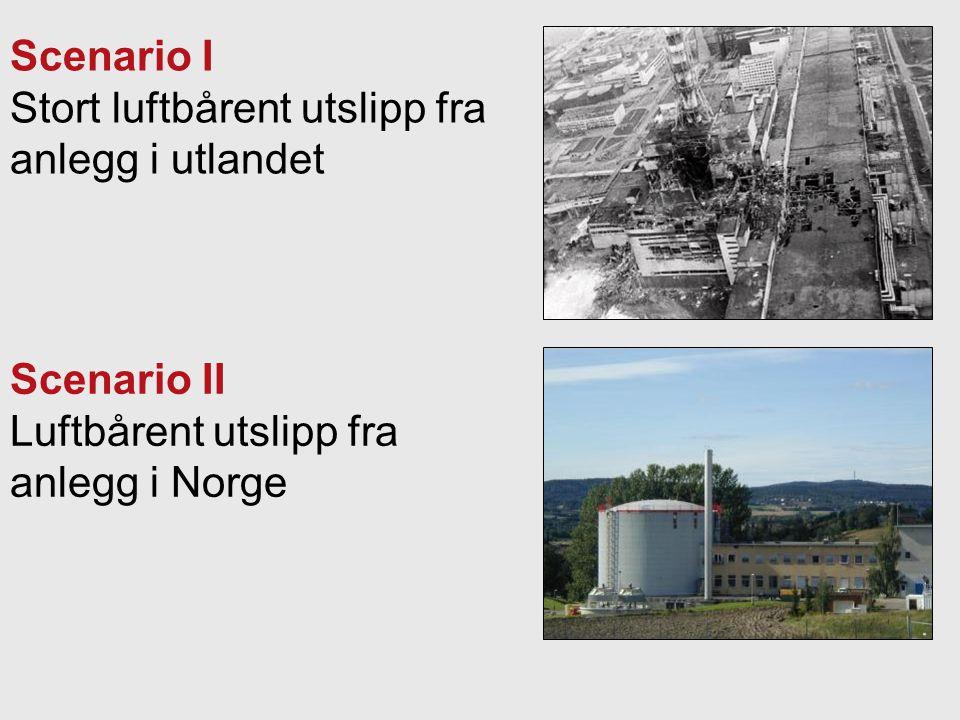 Scenario I Stort luftbårent utslipp fra anlegg i utlandet Scenario II Luftbårent utslipp fra anlegg i Norge