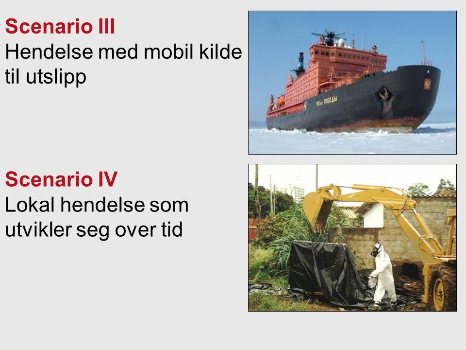 Scenario V Større utslipp til marint miljø Scenario VI Alvorlig hendelse i utlandet som ikke berører norsk territorium