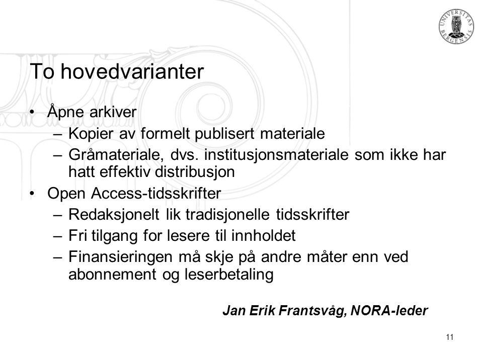 11 To hovedvarianter Åpne arkiver –Kopier av formelt publisert materiale –Gråmateriale, dvs.