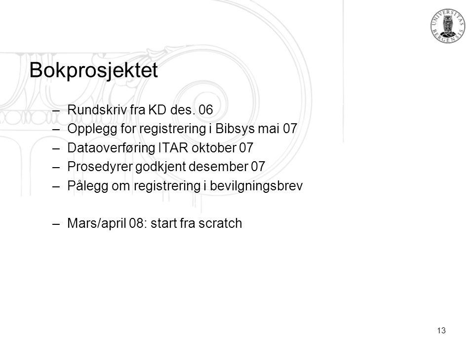 13 Bokprosjektet –Rundskriv fra KD des. 06 –Opplegg for registrering i Bibsys mai 07 –Dataoverføring ITAR oktober 07 –Prosedyrer godkjent desember 07