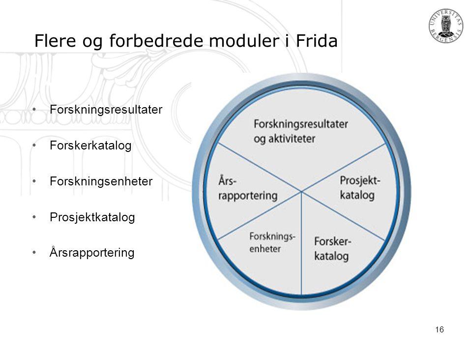 16 Flere og forbedrede moduler i Frida Forskningsresultater Forskerkatalog Forskningsenheter Prosjektkatalog Årsrapportering