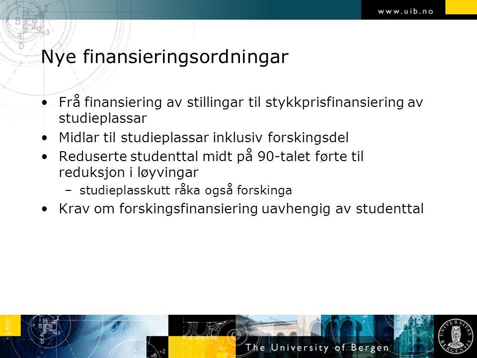 Nye finansieringsordningar Frå finansiering av stillingar til stykkprisfinansiering av studieplassar Midlar til studieplassar inklusiv forskingsdel Re