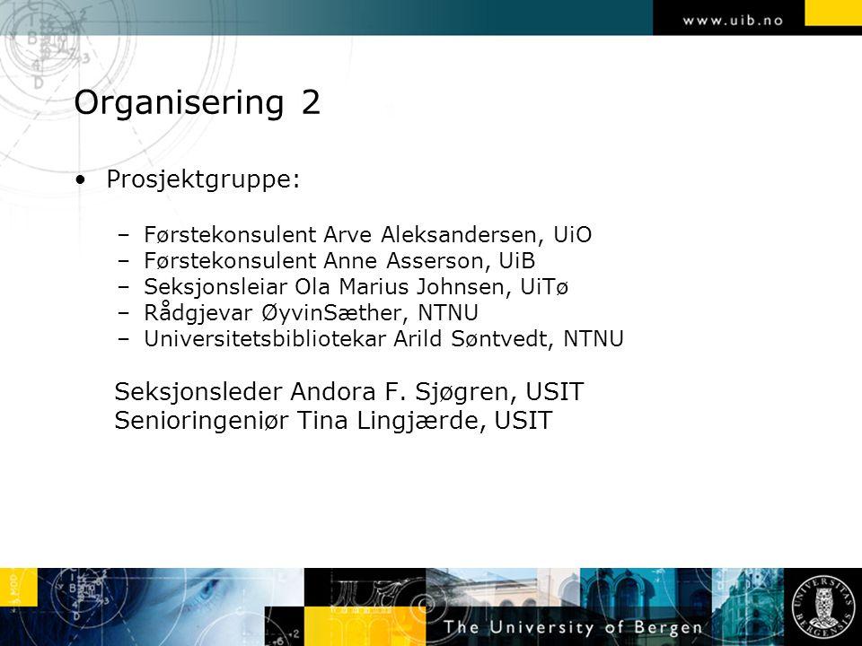 Organisering 2 Prosjektgruppe: –Førstekonsulent Arve Aleksandersen, UiO –Førstekonsulent Anne Asserson, UiB –Seksjonsleiar Ola Marius Johnsen, UiTø –R