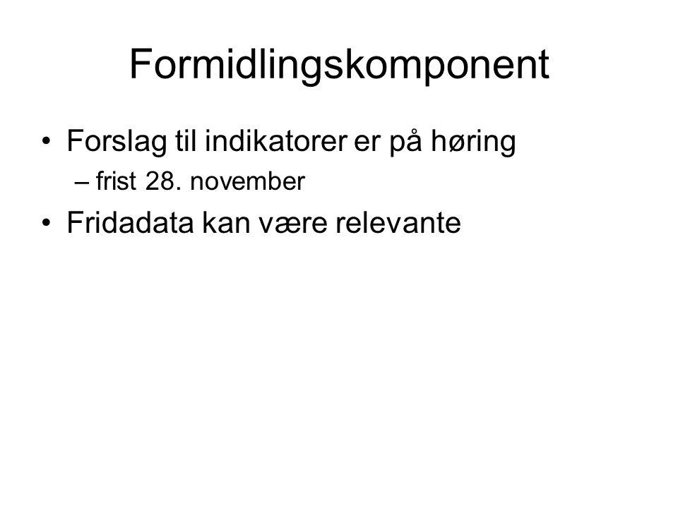 Formidlingskomponent Forslag til indikatorer er på høring –frist 28. november Fridadata kan være relevante