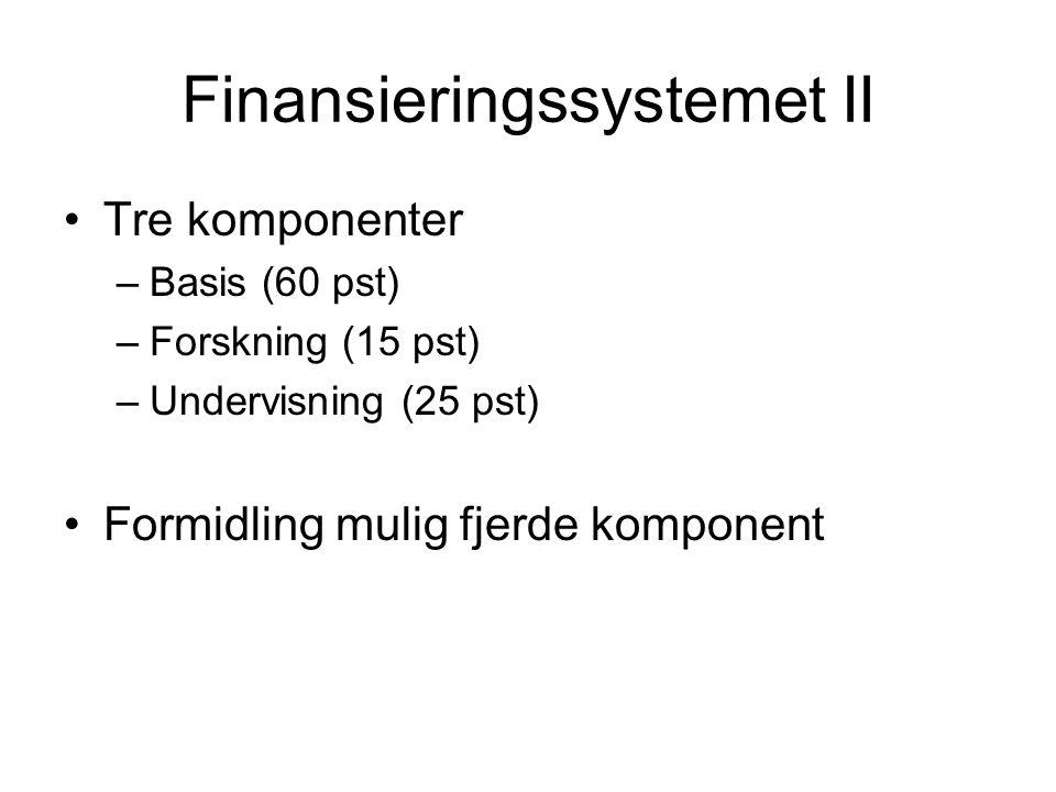 Finansieringssystemet II Tre komponenter –Basis (60 pst) –Forskning (15 pst) –Undervisning (25 pst) Formidling mulig fjerde komponent