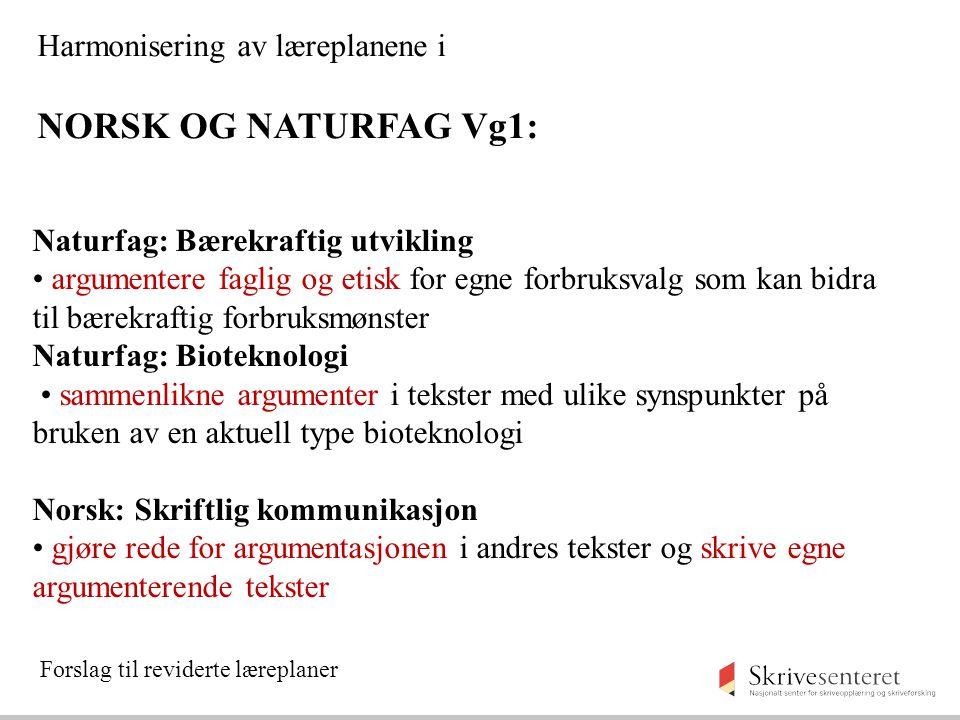 Naturfag: Bærekraftig utvikling argumentere faglig og etisk for egne forbruksvalg som kan bidra til bærekraftig forbruksmønster Naturfag: Bioteknologi