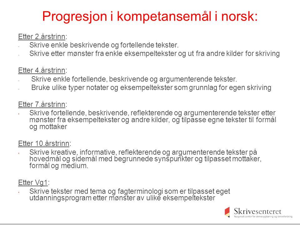 Progresjon i kompetansemål i norsk: Etter 2.årstrinn: - Skrive enkle beskrivende og fortellende tekster. - Skrive etter mønster fra enkle eksempelteks