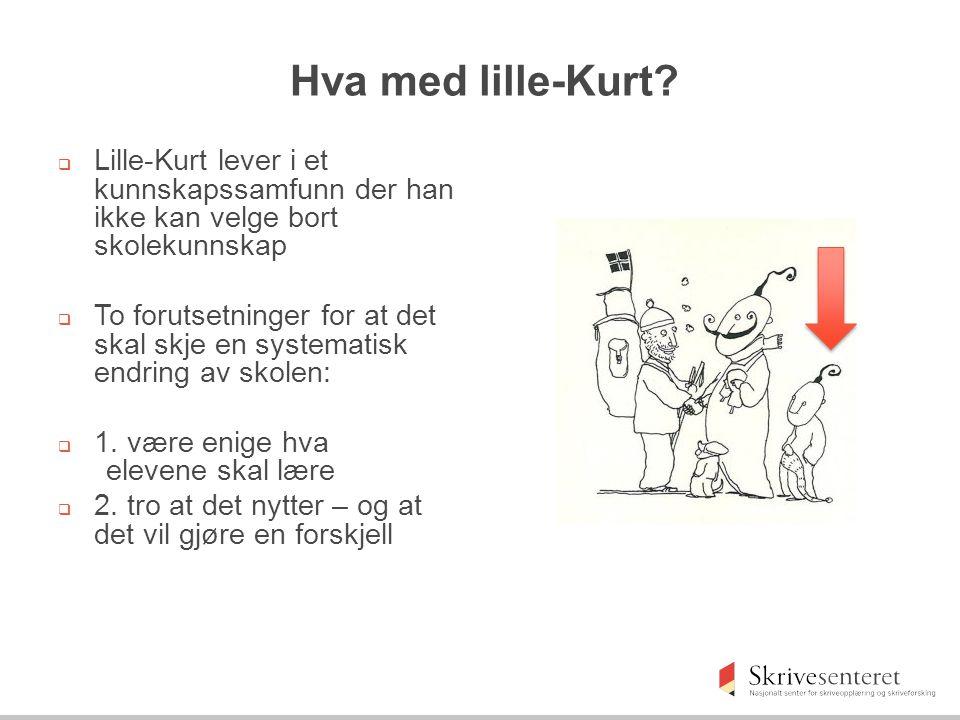Hva med lille-Kurt?  Lille-Kurt lever i et kunnskapssamfunn der han ikke kan velge bort skolekunnskap  To forutsetninger for at det skal skje en sys